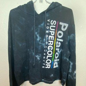 POLAROID Graphic Tie Dye Cropped  Hoodie